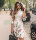 ZARA OFF WHITE FLORAL EMBROIDERED LASER CUT CROCHET LACE MINI DRESS 2731/046 s m