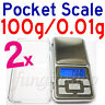 2 Mini Digital Pocket Scale 100g-0.01g Weight Gram Weighing LCD Display Jewelry