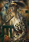 Woman with a Fan Painting by Jean Metzinger Art Reproduction