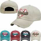 Baseball Mom Heart Lace Baseball Lover Game Cap Vintage Worn Torn Look Ball Hat