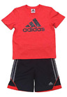 adidas Boys 2 Piece T-Shirt Tee & Shorts Set Athletic Outfit