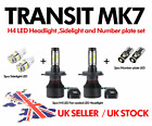 Ford Transit Mk6 Mk7 H4 Headlight upgrade kit inc LED Sidelights, Number plates