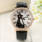 Lovely Cat Animal Crystal Quartz Bracelet Wrist Watch Leather Band Women Girl image