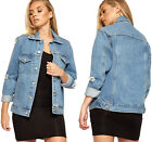 Womens Classic Distressed Ripped Oversize Button Ladies Long Sleeve Denim Jacket