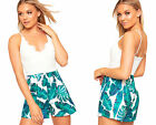Womens Floral Print Lace Strappy Sleeveless Playsuit Ladies Shorts Lined Leaf
