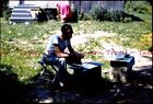 1955 Exiled man eats army rations in the back yard 35mm Slide s884