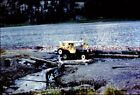 1950s canvas topped Willys Jeep CJ-2 crossing river 35mm Slide s971