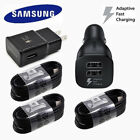 OEM Samsung Galaxy S8 S9+ Note8 Fast Charger Dual Car Wall Adapter 4FT Cable LOT