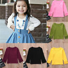 Внешний вид - Lively Toddler Baby Girls Long Sleeve Ruffles Candy Color Solid T Shirts Clothes
