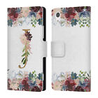 NATURE MAGICK FLOWERS MONOGRAM FLORAL GOLD LEATHER BOOK CASE FOR SONY PHONES 1