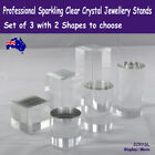Crystal Stand Jewellery Display Rare   Set Of 3 Blocks Or Cylinders   Aus Stock