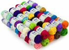 Mira Handcrafts Soft 100 Acrylic Yarn Skeins 40 Assorted Colors Total of 875...