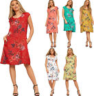 Womens Floral Print Ribbed Sleeveless Dress Ladies Pocket Linen Baggy Boho Tunic