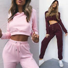 2PCS Fashion Womens Sport Tracksuits Set Cropped Hooded Loungewear Tops+pants