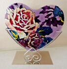 Joan Baker Suncatcher Heart Old Red Rose Tea Light Hand Painted VMC201 Tealight