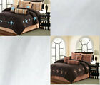 7 Piece Micro Suede Brown Comforter Set Queen Or King Size AT Linen Plus image