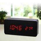 Thermometer Wood Clock LED Wooden Red 5.9*1.57*2.76 inches Snooze Voice Control