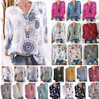 Womens Long Sleeve Casual V Neck Tops Loose Floral Spotted Blouse Tee T Shirt US
