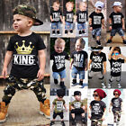 US Seller Hot Kids Baby Boys Camo & Denim Outfit Tops T-shir