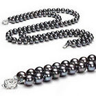 2 Rows 8mm Black South Sea Shell Pearl Beads 18KWGP Flower Clasp Women Necklace