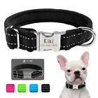 Soft Fleece Lined Personalized Dog Collar Nylon Pet Name ID Nameplate Engraved