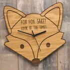 For Fox Sake Oak Wooden Fox Clock - Unique Gift Idea For Someone Who Loves Foxes