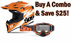 509 Tactical Matte Orange/White MX Dirt Bike Helmet with Choice of Goggle