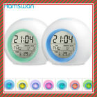 Digital Alarm Clock Backlight LED Table 7 Colors Changing Time Temperature