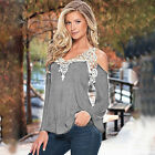 Womens Lace Long Sleeve Tops T-shirt Ladies Casual Pullover Blouse Shirts Tee US