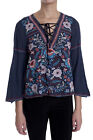 Johnny Was Workshop Navy Oman Lace Up Swing Embroidered Blouse New Boho W11518