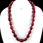 AMAZING 660.20 CTS EARTH MINED RICH RED RUBY OVAL SHAPED BEADS NECKALCE STRAND