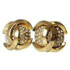 CHANEL CC Earrings Gold-Tone Silver Stone 2 3 Vintage France Authentic #B103 W