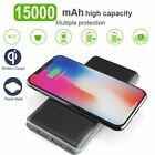 Qi Wireless 15000mah Power Bank 2USB Battery Fast Charger For iPhone Samsung
