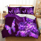 Butterfly Purple Duvet Cover Set Twin/Queen/King Size Bedding Set Pillowcase image