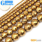 """Gold Metallic Coated Reflections Hematite Faceted Round Beads 15"""" Free Shipping"""
