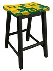 "BLACK FINISH WOOD BAR STOOL IN 24"" or 29"" TALL WITH SPORTS TEAM LOGO FABRIC SEAT"