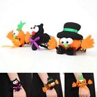 Cute Kids Halloween Pumpkin  Glow Slap Bracelet Pat Circle Hand Ring Gifts