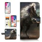 ( For iPhone XS MAX ) Wallet Case Cover P31070 Cool Black Horse