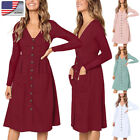 US Women Long Sleeve V-neck Midi Dress Ladies Casual Buttons  Sundress 4-22