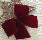 "5"" 10"" LUXURY DARK RED VELVET WIRED CHRISTMAS RIBBON BOW + CLIP GIFT WREATH TREE"