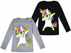 Girls Unicorn Top Kids Long Sleeve Black Grey T shirt Jumper Ages 2 - 13 Years