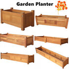 Wood Garden Planter Box Yard Rectangle Flower Veg Succulent Container Plant Pot