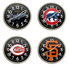 SILVER FINISH WALL CLOCK WITH MLB TEAM LOGO DECAL IN PLASTIC FRAME 11.38 ROUND