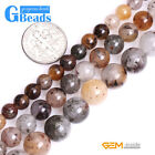 Natural Multi-Color Lodalite Quartz Stone Round Beads for Jewelry Making DIY 15""