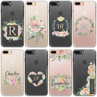 Personalised Initials Flower Iphone Xs Max Case Clear Hard Cover For Apple Phone