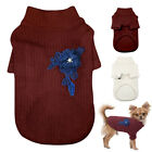 Hand Knit Pet Clothes Dog Sweater Size Small Winter Dog Coat Chihuahua Red White