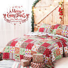 Bedsure Printed Quilt Set Bedspread Twin Christmas Pattern Microfiber Bed Set image