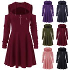 Fashion Women Sexy Cold Shoulder  line Dress Casual Warm Hooded Mini Dress