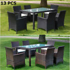 13 Pieces Rattan Outdoor Dining Set Garden Furniture Table And Chair Brown/black