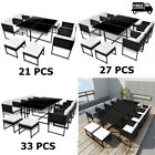 21/27/33 Pcs Outdoor Dining Furniture Set Rattan Garden Patio Table And Chairs